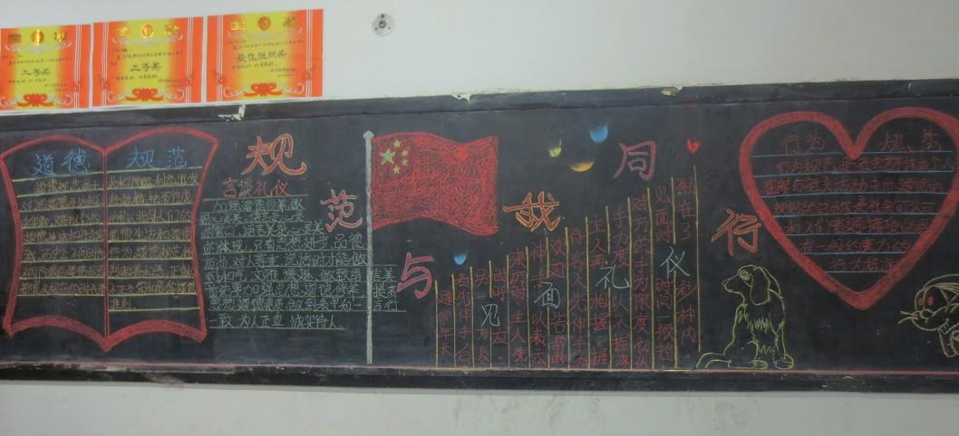 我院举行 行为规范教育月 黑板报 手抄报评比活动